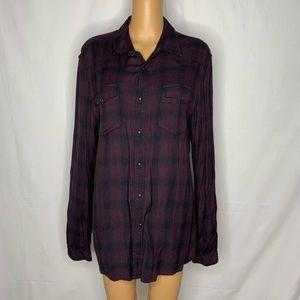 Asos Men's Plaid Button Up Shirt Western Pockets L
